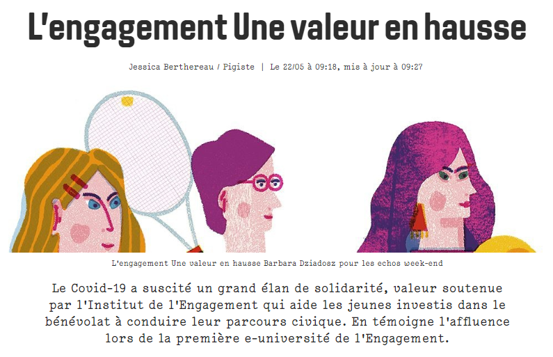 Les Echos Week-end – Article sur l'Institut de l'Engagement et la 1ère e-Université de l'Engagement